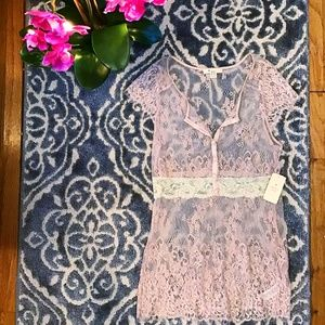Forever 21 Pink Sheer Lace Blouse